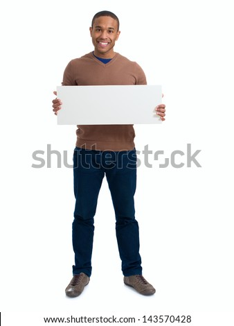Happy Man Holding Blank Placard Over White Background