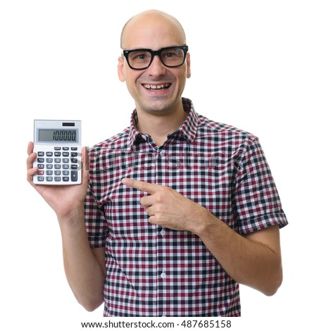 happy man holding calculator isolated on white background
