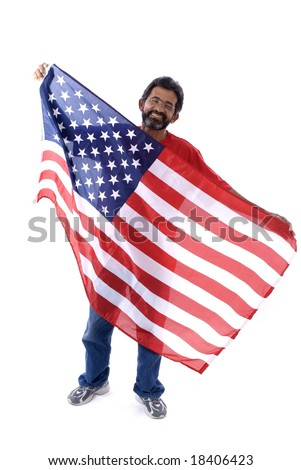 Happy Man Holding the USA flag .