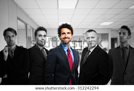 Happy man in a group of depressed or worried people - stock photo