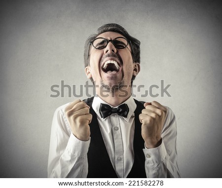 Happy man jubilating  - stock photo