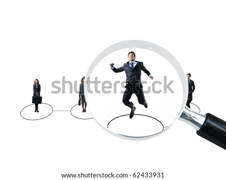 happy man jump becose he got a job - stock photo