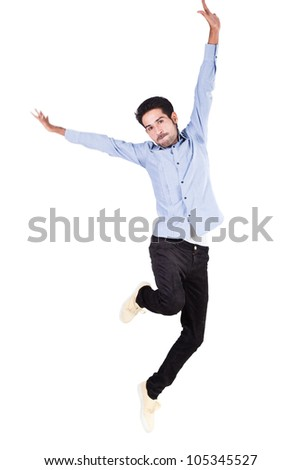 happy man jumping in the air with joy