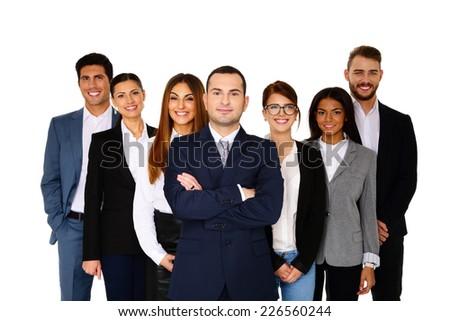 Happy man leading his happy team over white background - stock photo