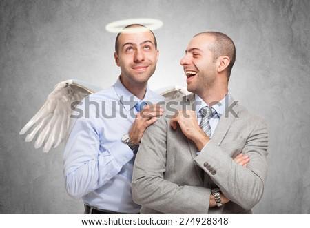 Happy man looking at his good self - stock photo