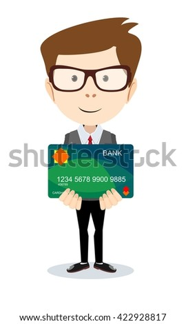 Happy man - office worker holding a bank card. Isolated on white background. Stock illustration