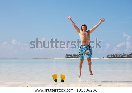 happy man on the beach