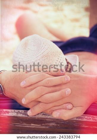 Happy man on the beach - stock photo