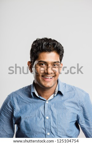 happy man portrait real people high definition grey background - stock photo