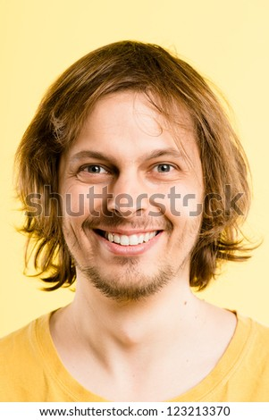 happy man portrait real people high definition yellow background