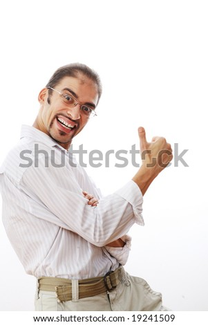 Happy man showing thumbs up sign. Isolated on white.