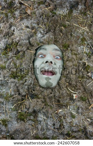 happy man under a bed of dust, hygiene concept - stock photo