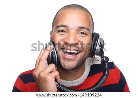 Happy man with a headphone loves music