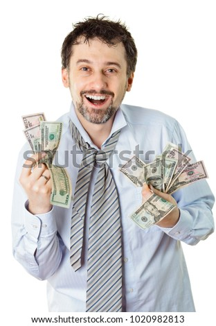 Happy man with a lot of money