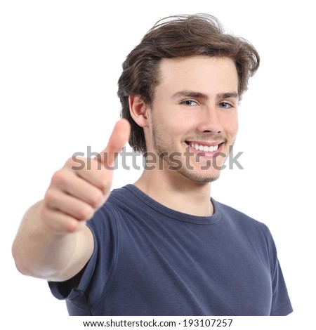 Happy man with a perfect white smile and thumb up isolated on a white background