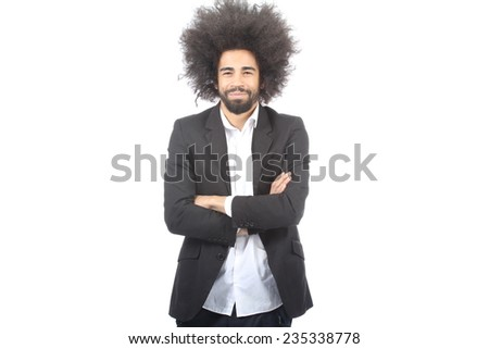 Happy man with an afro
