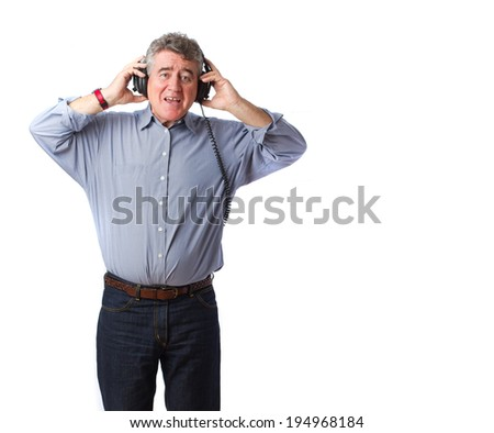Happy man with an headphones