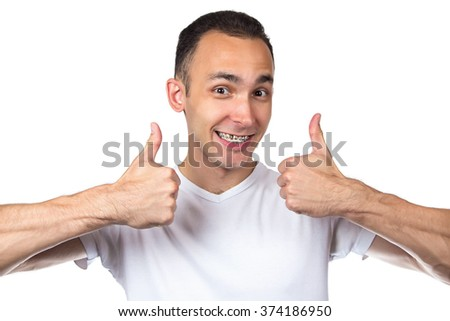 Happy man with brackets on white background