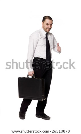 happy man with briefcase