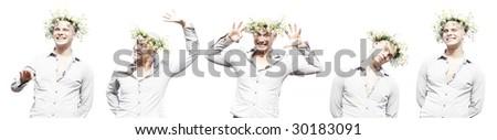 happy man with chamomile diadem - stock photo