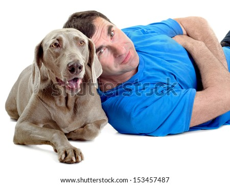 Happy man with his dog isolated on white background