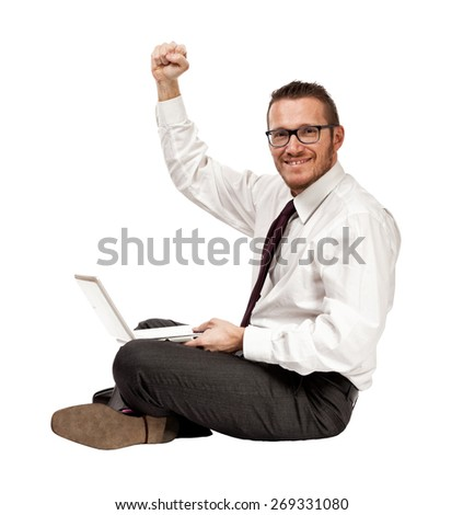 happy man with notebook isolated on white - stock photo