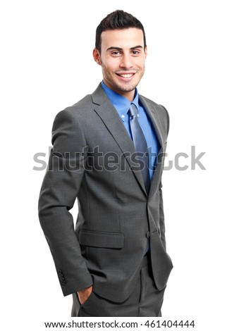Happy manager against white background