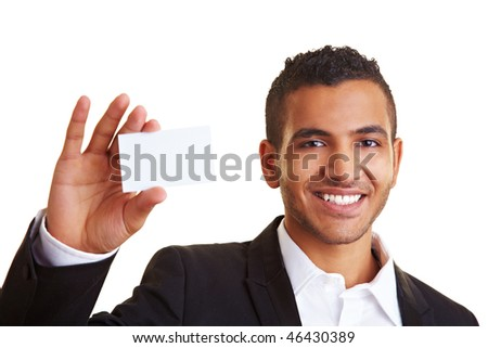 Happy manager holding an empty white business card