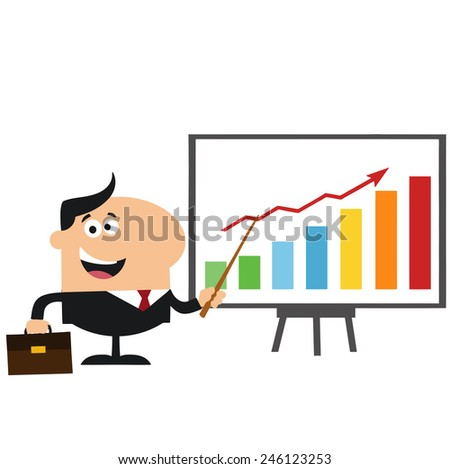 Happy Manager Pointing To A Growth Chart On A Board.Flat Style Raster Illustration Isolated On White