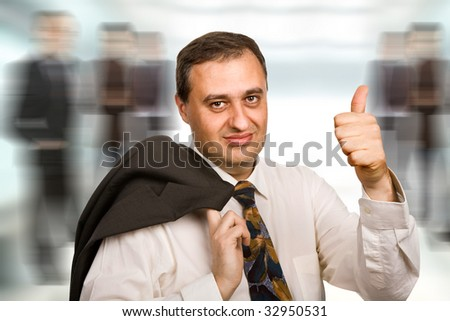 happy mature business man going thumb up