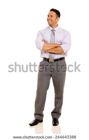 happy mature business man with arms folded isolated on white - stock photo