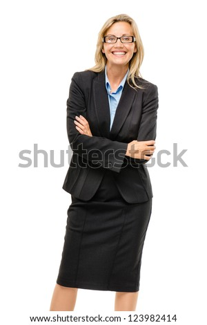 Happy mature business woman arms folded isolated on white background - stock photo