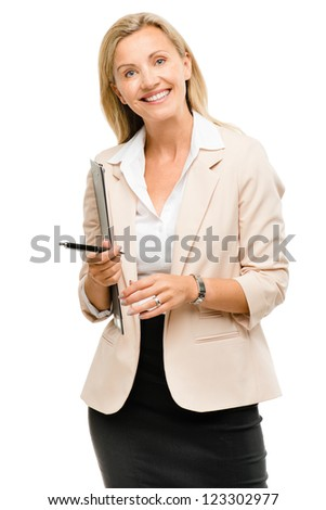 Happy mature business woman holding clipboard isolated on white ba