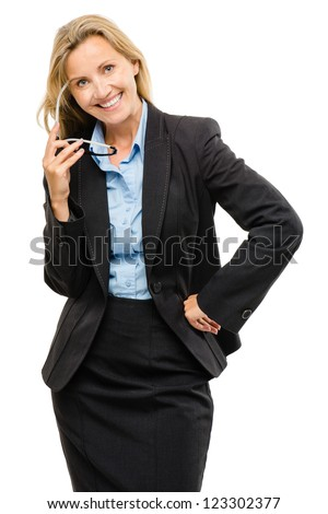 Happy mature business woman isolated on white background