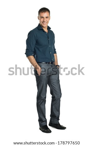 Happy Mature Businessman Isolated Over White Background - stock photo