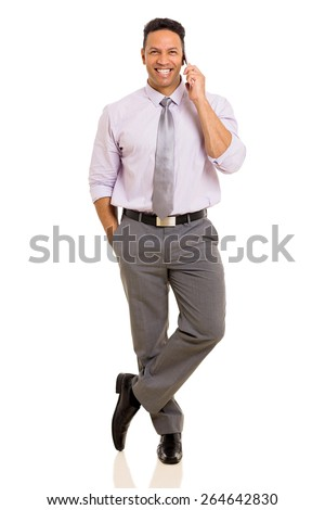 happy mature businessman talking on cell phone isolated on white background - stock photo