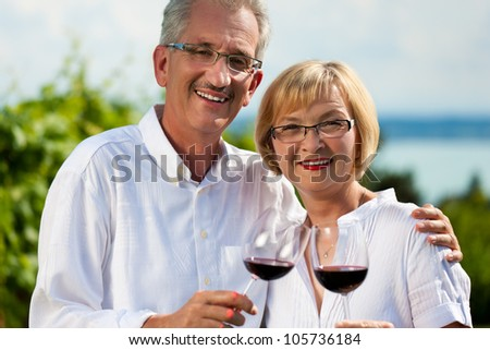 Happy mature couple - senior people (man and woman) already retired - drinking wine at lake in summer