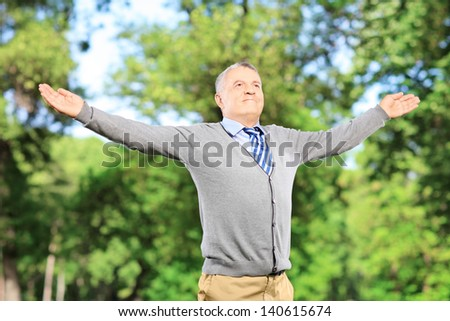 Happy mature gentleman spreading his arms in a park - stock photo