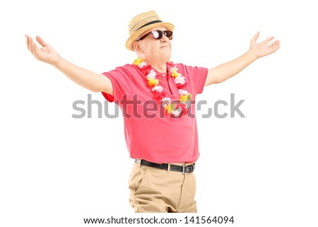 Happy mature man on a vacation spreading his arms isolated on white background - stock photo