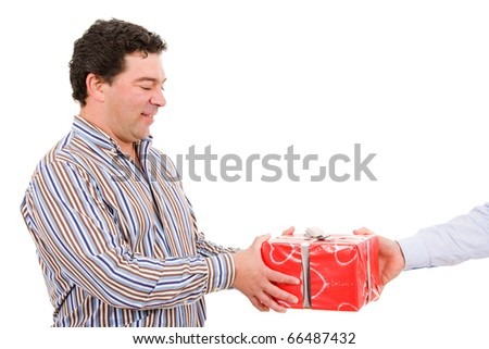 Happy mature man receives a gift, isolated on white