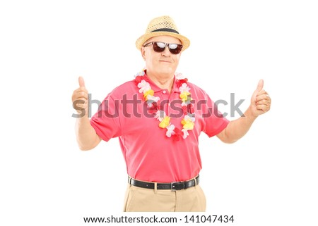 Happy mature man with hat and sunglasses giving thumbs up, isolated on white background - stock photo