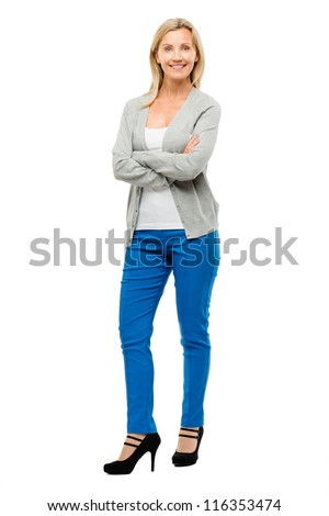 Happy mature woman confident arms folded isolated on white background