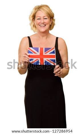 Happy Mature Woman Holding British Flag Isolated On White Background