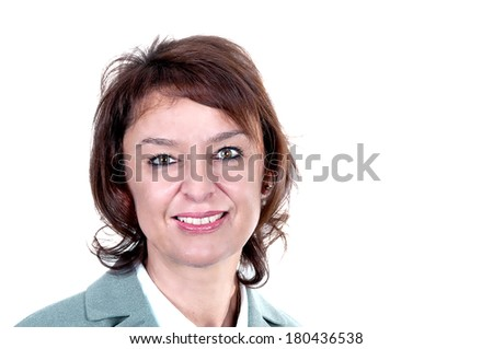 Happy mature woman with great smile on white background - stock photo