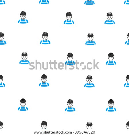 Happy Mechanic raster seamless repeatable pattern. Style is flat blue and dark gray happy mechanic symbols on a white background.