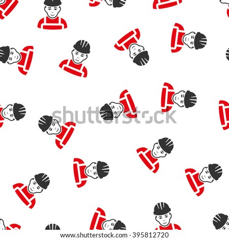 Happy Mechanic raster seamless repeatable pattern. Style is flat red and dark gray Happy mechanic symbols on a white background. - stock photo