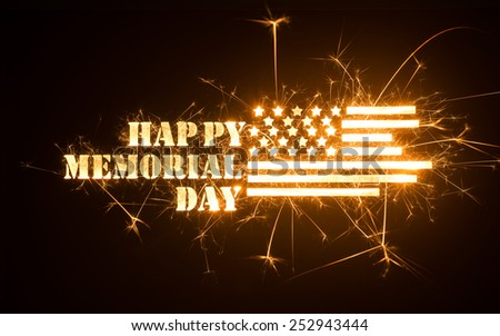 Happy Memorial Day greeting with flag in sparks on dark background. - stock photo