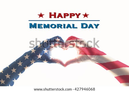 Happy memorial day text message with America flag pattern on people hands in heart shaped form isolated on white background: United states of america USA public holiday day US veterans day concept - stock photo