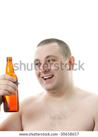 Happy men with a bottle of beer.