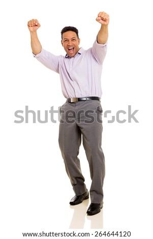 happy mid age man celebrating success on white background - stock photo